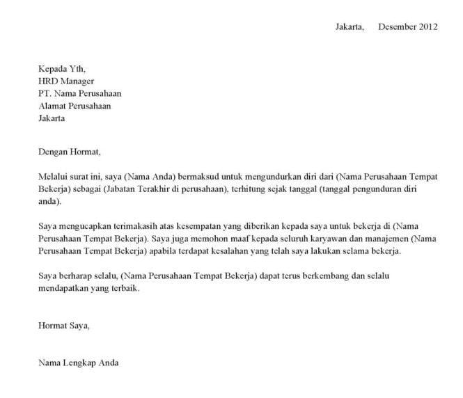 Gambar Surat Resign